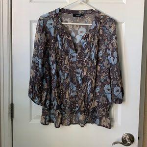 ANA gray floral blouse xl